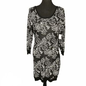 Charlotte Russe Black & White Floral Sweater Dress